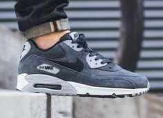 reputable site a00bf 69bda NIKE AIR MAX 90 LEATHER ANTHRACITE BLACK WOLF GREY WHITE 652980 012 Nike  Air Max 90s