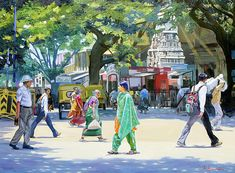 street art - India Street Scene 2 by Dominique Amendola Figure Painting, House Painting, Painting Art, Figure Drawing, Watercolor Paintings, Drawing Pics, Watercolour Drawings, Composition Painting, Picture Composition