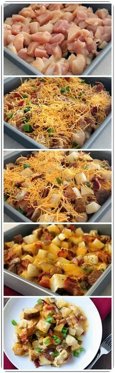 Loaded baked potato, chicken & cheddar cheese casserole. This easy DIY recipe takes 2 minutes to prep. Then sit back, relax and let that cheese melt!