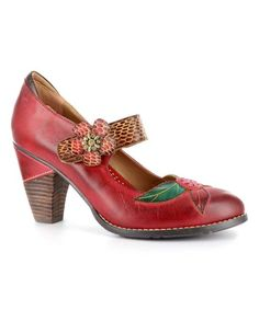 This Elite by Corky's Red Wildflower Hand-Painted Leather Pump by Elite by Corky's is perfect! #zulilyfinds