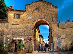 The Via Raffaello entrance to the walled town of Urbino, Italy