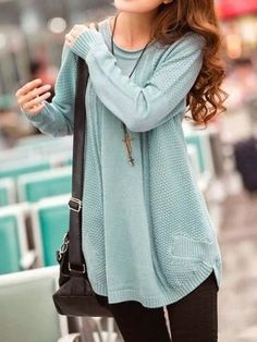 long loose knitted sweater + leggings + long necklaces + messenger bag