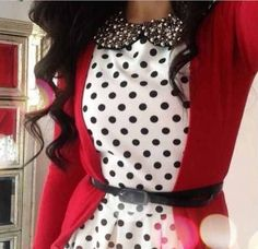 White dress with black polka dots, black belt and red cardigan. Cute!