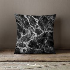 Marble Throw Pillow  Black Marble Decor  Marble by wfrancisdesign
