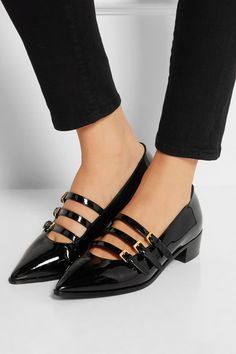 Heel measures approximately 35mm/ 1.5 inches Black patent-leather Buckle-fastening straps at front