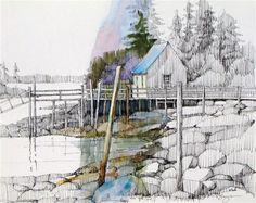 """Quiet Cove"" - Original Fine Art for Sale - © Paula Ensign"