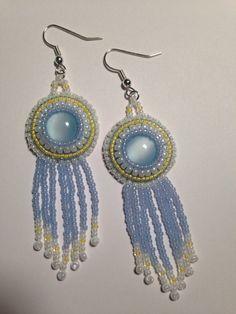 Dangle Fringe Earrings Blue Cabochon White and by RhiannonsJewelry, $35.00