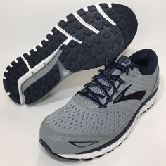 super popular d0e01 90515 Brooks Beast 18 Wide 2E Grey Navy White Running Shoe Mens 13  fashion   clothing