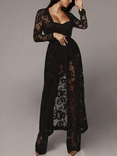 Solid See Through Crochet Lace Pant With Coat Sets