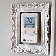 I DIY Idea Box by Lynne dress up your ugly thermostat, design d cor, heating cooling, Here s an easy way to make the ugly go away Decorating Your Home, Diy Home Decor, Decorating Ideas, Thermostat Cover, Hide Thermostat, Paint Drying, Do It Yourself Home, Cool Walls, Home Projects