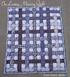 Memory quilt made from her late father-in-law's button down shirts