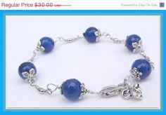 Blue Agate Bracelet Gemstone Bracelet Handmade By by lyrisgems, $27.30