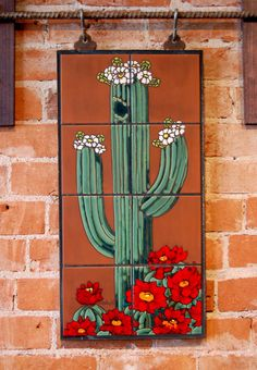 12x24 Hand Glazed Saguaro Cactus Ceramic Tile by CarlyQuinnDesigns
