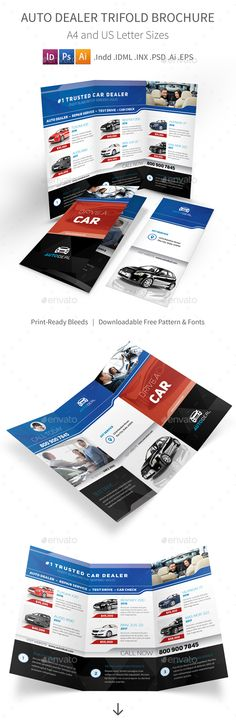Auto Dealer Trifold Brochure - PSD Template • Only available here ➝ http://graphicriver.net/item/auto-dealer-trifold-brochure/16878670?ref=pxcr