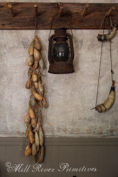 Primitive Long Gourd Garland with tied by MillRiverPrimitives, $34.00