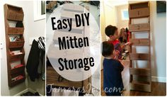 How to build your very own mitten storage! It cleans up the mudroom & helps the kids keep things organized in a simple way. Tamarasjoy.com
