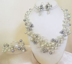"Wedding Bridal Necklace, Bracelet and Earring Set Swarovski Pearls, Rhinestones and Crystals ""Silver Lining""  by:-myweddingjewelry"