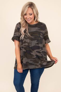 Working Through It Top, Army Green Plus Size Clothing Online, Online Clothing Boutiques, Mommy Style, Camo Print, Cute Casual Outfits, Nice Tops, Army Green, Plus Size Outfits, Plus Size Fashion