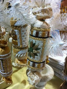 Christmas crackers by KreinikGirl, via Flickr. Gorgeous in person! Needlepoint canvases are by Melissa Shirley Designs
