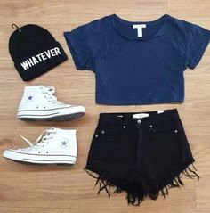 blouse hat shoes blue top black shorts converse allstars tumblr style fashion hot