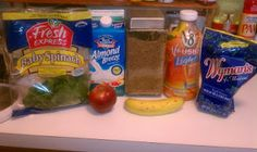 Kara's Meal Replacement Smoothie:  1 whole ripe banana, sliced  1 whole apple, sliced  1/2 cup Almond Milk  1/2 cup V8 Fusion Light Mango Peach Juice  1 cup frozen or fresh blueberries  1 tablespoon flaxseed  1 cup spinach (or a really good handful)   * tip I keep a bag of spinach in the freezer, it keeps longer and its frozen so makes your smoothie that much colder.