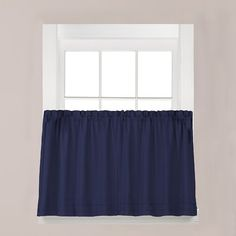 August Grove Gladys Tier Curtain Color: Navy