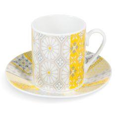 Tasse et soucoupe à café en porcelaine jaune/grise ALICANTE   - Vendu par 6