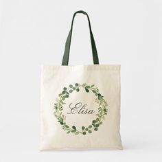 Eucalyptus Greenery Leaves Wreath Bridesmaid Tote Bag - Make your wedding a happy occasion for all involved. Wedding Welcome Bags, Gifts For Wedding Party, Party Gifts, Wedding Bags, Bridesmaid Tote Bags, Bridesmaids, Personalized Tote Bags, Soft Summer, Monogram Gifts