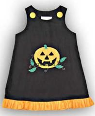 This Jack-o-lantern jumper Halloween dress is beautifully made in black and orange 100% cotton fabric. Runs true to size. Your...