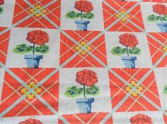 1950's cotton geranium fabric