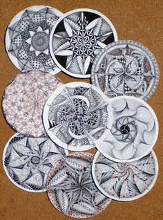 """Mandala meets Zentangle in a wonderfully harmonious union that will inspire you to put pen to paper.    Zendala tiles are about 4-5/8"""" (117mm) diameter. They are die cut with our familiar deckle edge and use the same paper as our square white tiles."""