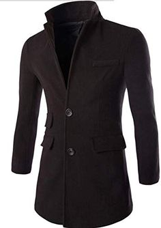 Comaba Men Thickening Solid Cotton with Zips Wool Coat