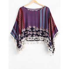 Ethnic Style Scoop Neck Print Tassel Cape For Women #jewelry, #women, #men, #hats, #watches, #belts