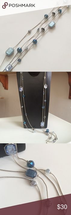 Long Necklace by Chico's Beautiful long silver necklace with Blue, gray and silver beads.  No flew never worn. Jewelry Necklaces