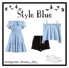 """""""Style blue ☁"""" by jessica-skye-1 on Polyvore featuring River Island, Sandy Liang, adidas and Jayson Home"""