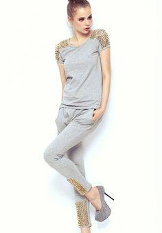 Grey Short Sleeve Shoulder Rivet Top With Pant $63.93