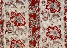 Fleurs rouges - Rayures fleurie, impression à la planche sur coton, Manufacture Lesourd, Angers, France, 1786