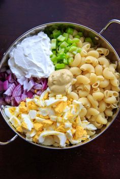 Deviled Egg Macaroni Salad - - Deviled egg pasta salad with macaroni noodles. Light on the mayo and big on flavor, this dish is a hit at cookouts or summer gatherings! Great way to use leftover hard boiled eggs. Macaroni Pasta Salad, Pasta Salad Recipes, Recipe Pasta, Side Salad Recipes, Vegetarian Recipes, Cooking Recipes, Healthy Recipes, Easy Cooking, Cooking Tips