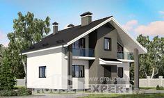 150-005-L Projekt domu dwukondygnacyjnego z mansardą, ekonomiczny domek z betonu drewnianego, Łódź