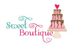 OOAK premade logo design, whimsical cute cake bakery logo. This is a one of a kind, unique logo design which will not be resold.  -