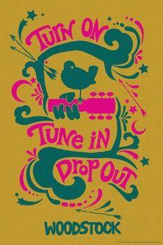 size: Art Print: Woodstock - Turn On, Tune In, Drop Out (Yellow) : Woodstock Poster, Woodstock Music, Woodstock Festival, Festival Posters, Concert Posters, 60s Art, Yellow Art, Hippie Art, Posca