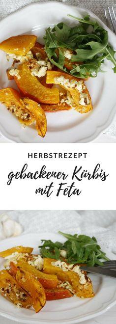 Ein ausgefallenes Kürbis Rezept ist gebackener Kürbis mit Feta. Der Ofen Kürbis wird vorab mariniert und kann sowohl als Hauptgericht oder als Beilage gegessen werden.