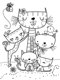 favorite Grown Up Coloring Pages Cat Drawing, Drawing For Kids, Art For Kids, Coloring Book Pages, Coloring Sheets, Digi Stamps, Printable Coloring, Coloring Pages For Kids, Doodle Art