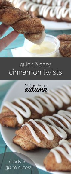 these delicious cinnamon twists with cream cheese frosting start with…