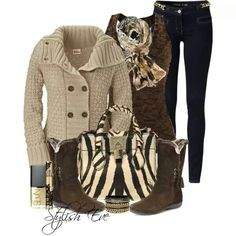 Gorgeous #fall outfit perfect as casual day attire or for a night out with the added #scarf. The bag compliments the neutral colors of the clothing while making a #bold statement.