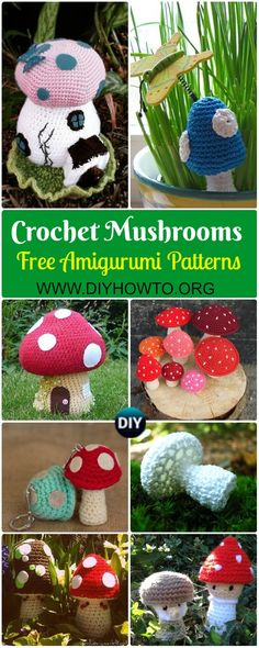 Collection of Amigurumi Crochet Mushroom Softies Free Patterns & Paid, Crochet Toadstool fairy house, fungus, mushroom keychain, mushroom plushies via @diyhowto