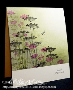 """""""Less is More"""": Week 61 Lucky Dip  ... The bottom of the card was masked with post its and the inks, Pear Pizzaz and Basic Grey, were added with Ink Duster Brushes. I stamped some text in the green shade and then added the blooms (Unity stamps) with the addition of a dash of pink!"""