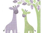 Nursery Art Print Giraffe Decor Green and Purple Girl's Room Decor Jungle Children Baby Safari 8 x 10 or 11 x 14