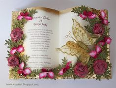 Elina Cardmaking Hobby, Card with flowers - book Hobbies And Crafts, Diy And Crafts, Basket Flower Arrangements, Teacher Thank You Cards, Tattered Lace Cards, Book Page Art, Jute Crafts, Folded Book Art, Card Book