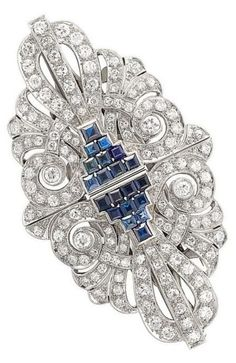 Platinum, Sapphire and Diamond Double Clip-Brooch - c. 1935.
